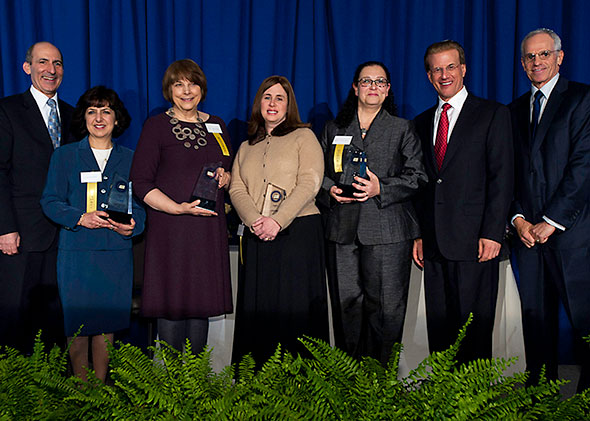 Jewish Educator Awards Luncheon Milken Family Foundation Chairman and Co-Founder Lowell Milken, second from right, along with Milken Family Foundation Executive Vice President Richard Sandler, right, and BJE Executive Director Dr. Gil Graff, left, congratulate the 2011 Jewish Educator Award recipients. The recipients are, from left, Weizmann Day School Head of School Lisa Feldman, Temple Emanuel Academy Day School first-grade teacher Marnie Greenwald, Bais Yaakov School for Girls physics and calculus teacher Juli Shanblatt, and Sinai Akiba Academy kindergarten Judaic studies and Hebrew teacher Hava Mirovski.